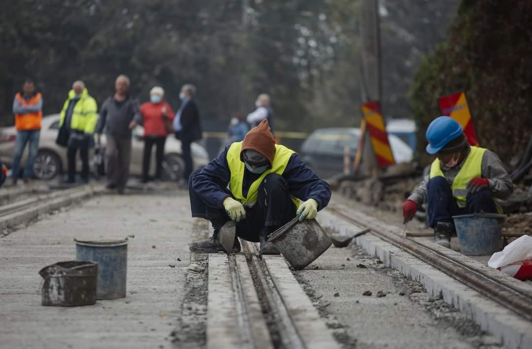 Lucrari la linii tramvai în Iași